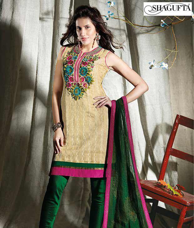Shagufta Chanderi Banarasi Silk Suit-B-543
