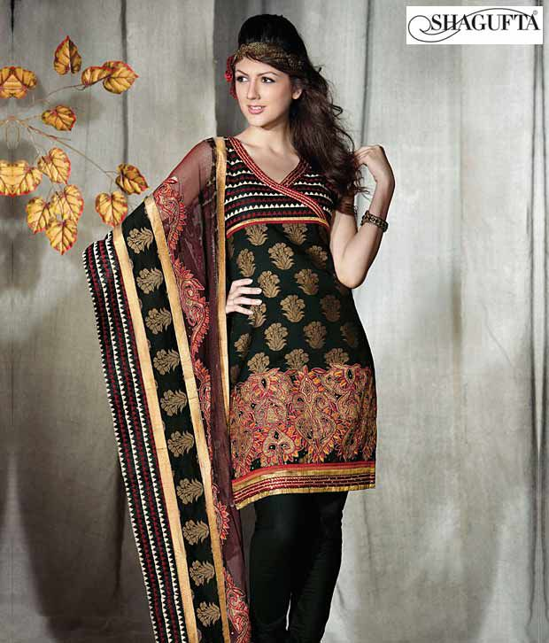 Shagufta Chanderi Banarasi Silk Suit-B-544