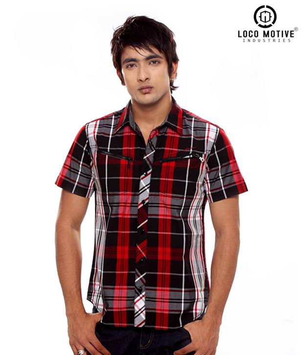 Locomotive Red & Black Checked Casual Shirt LMSH006837