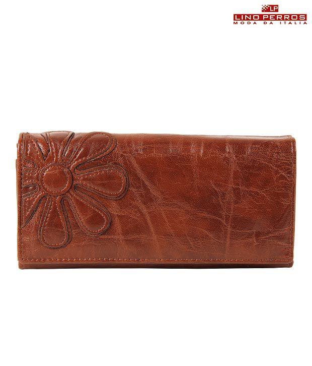 Lino Perros Brown Flower Wallet