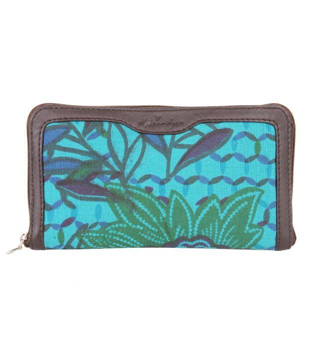 Paridhan Turquoise Linen Wallet