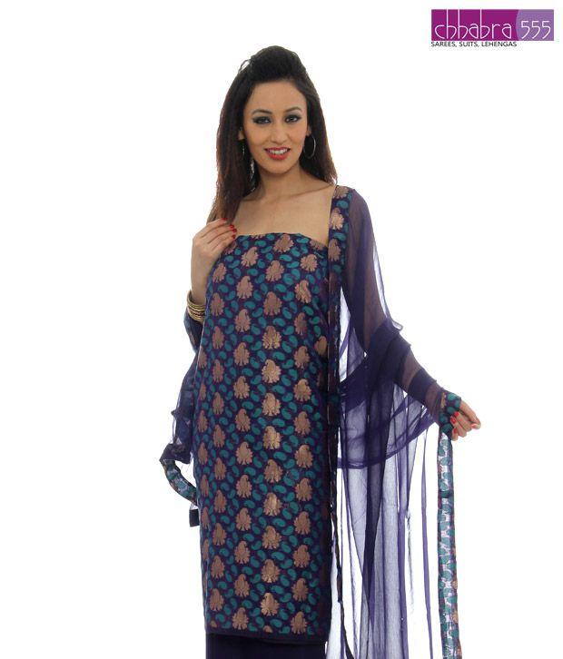 Chhabra Blue Iris Un-stitched Suit-BROR696-2