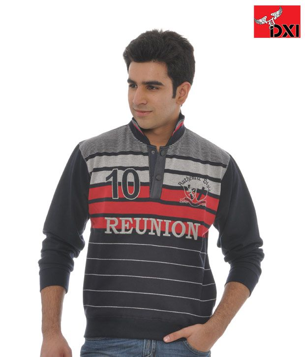 DXI Stripe Sweat-Shirt For Men- X1127-Red