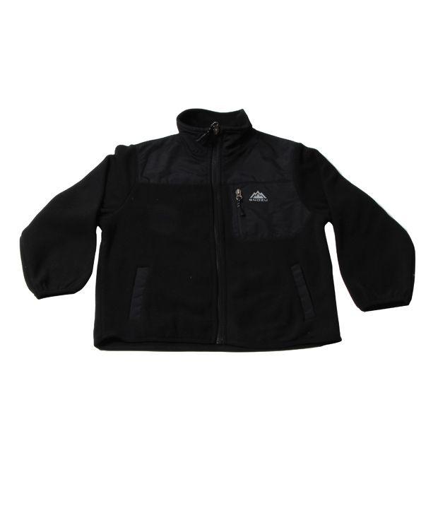 Snozu Black  Full Zip with zipper Pocket Jacket For Kids