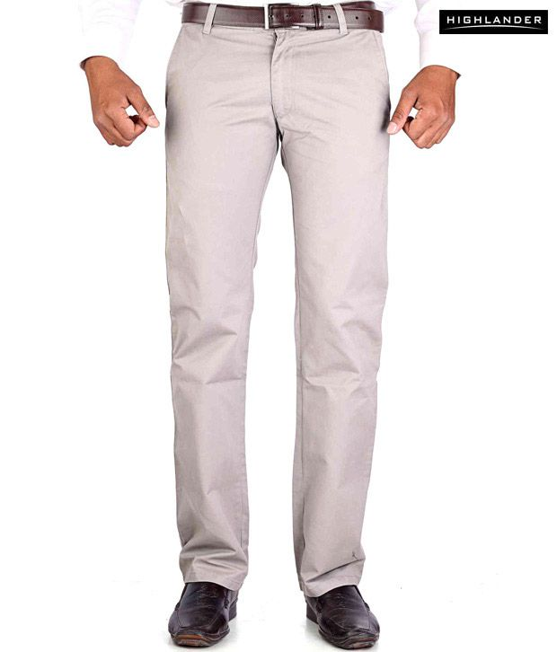 Highlander Light Grey Casual Trouser HLTR002871