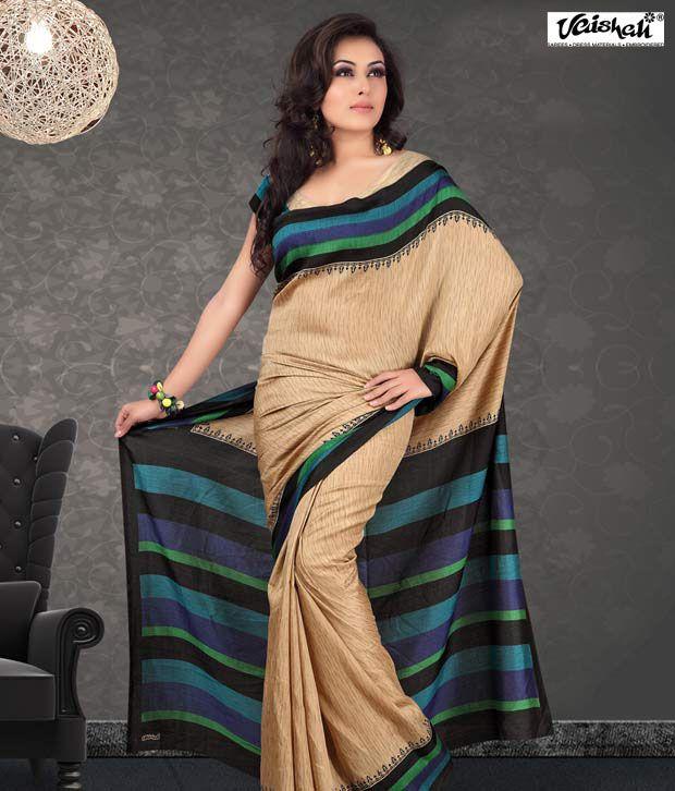Vaishali Beige Pashmina Silk Saree (PrintedSaree-1001B)