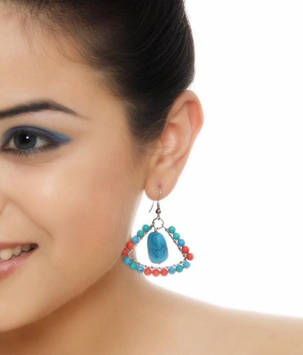 Isabella Turquoise & Red Beads Earring Set