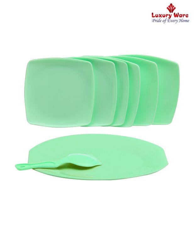 Luxuryware Green Square Cake Set