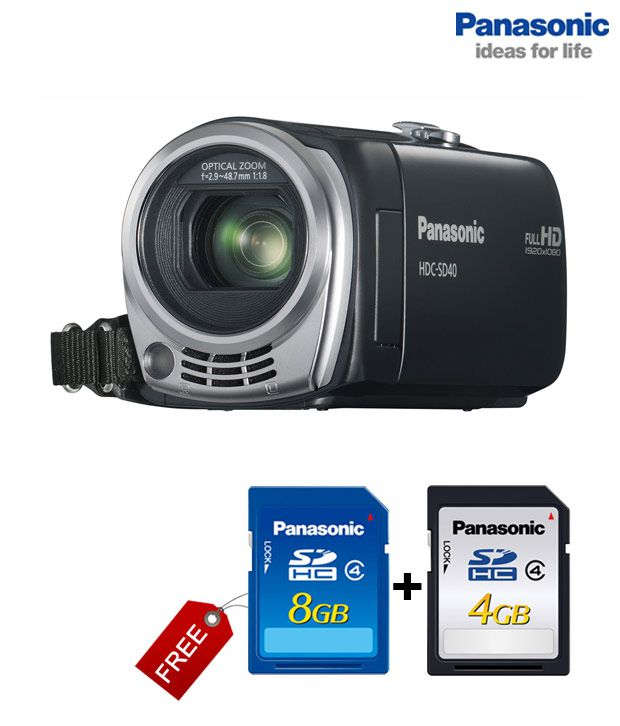 Panasonic HDC SD40 Camcorder (Black) (with 8GB + 4GB Panasonic Memory Card Supplied + Carry Pouch)
