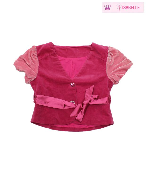 Isabelle Fuschia Pink Short Jacket For Kids