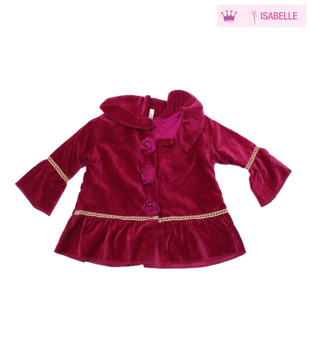 Isabelle Pink Velveteen Tunic Jacket For Kids