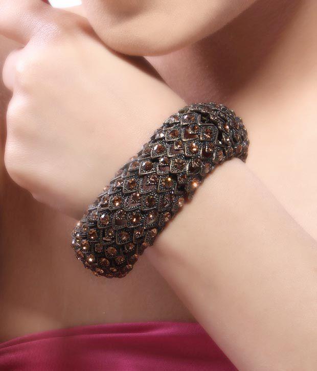 Bansri Citrine Swarovski Crystal Antique Bracelet