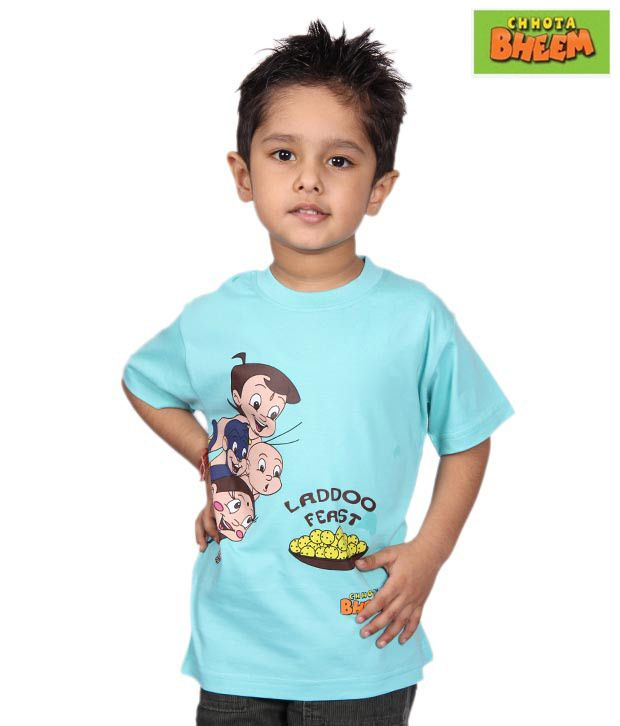 Chhota Bheem Sky Blue Ladoo Feast T-Shirt For Kids