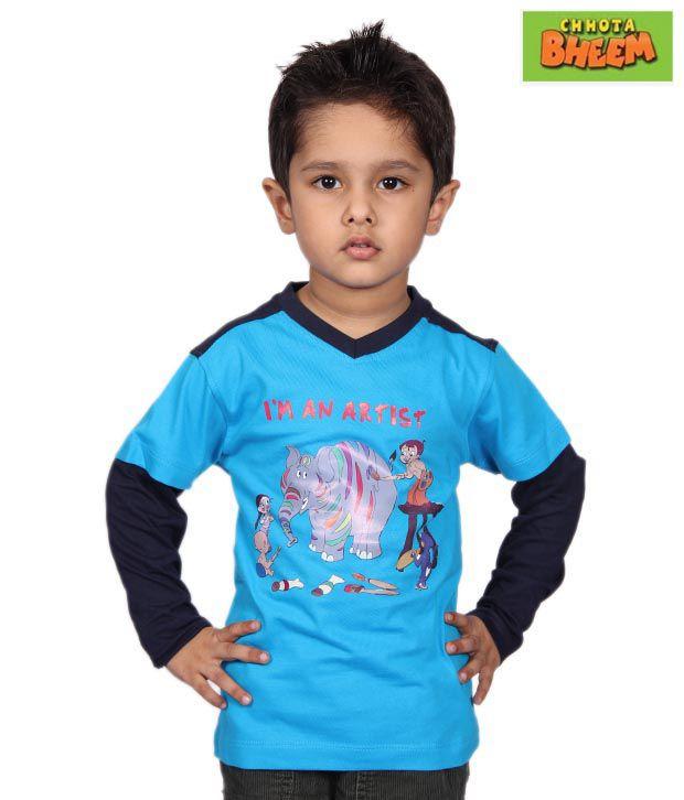 Chhota Bheem Cool Blue & Black T-Shirt For Kids