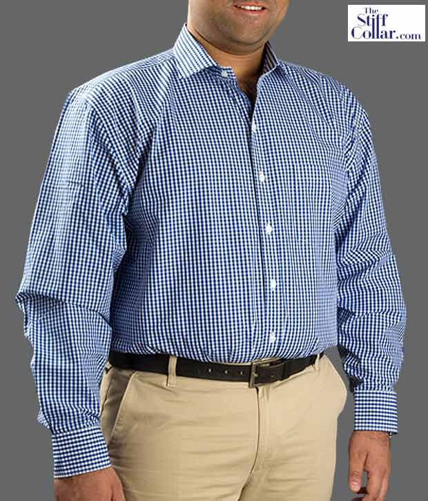 The Stiff Collar Royal Blue Plus Size Shirt