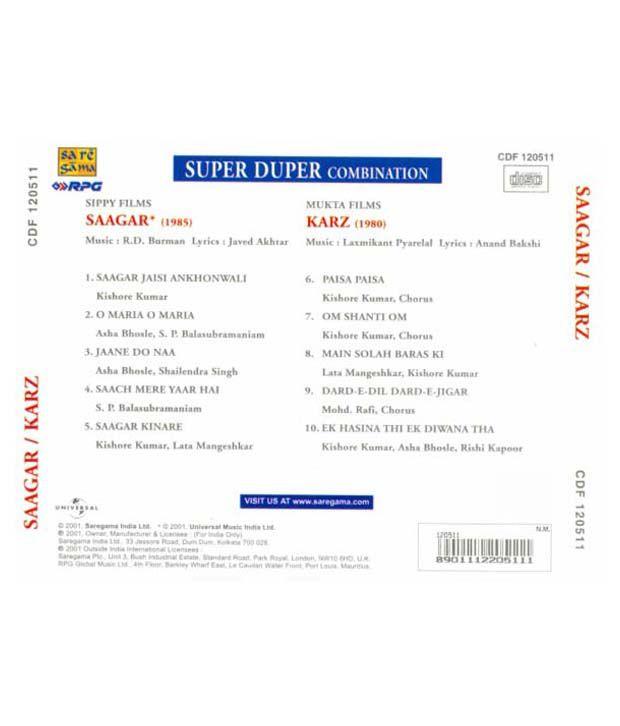 Saagar / Karz (Hindi) [Audio CD]: Buy Online at Best Price in India