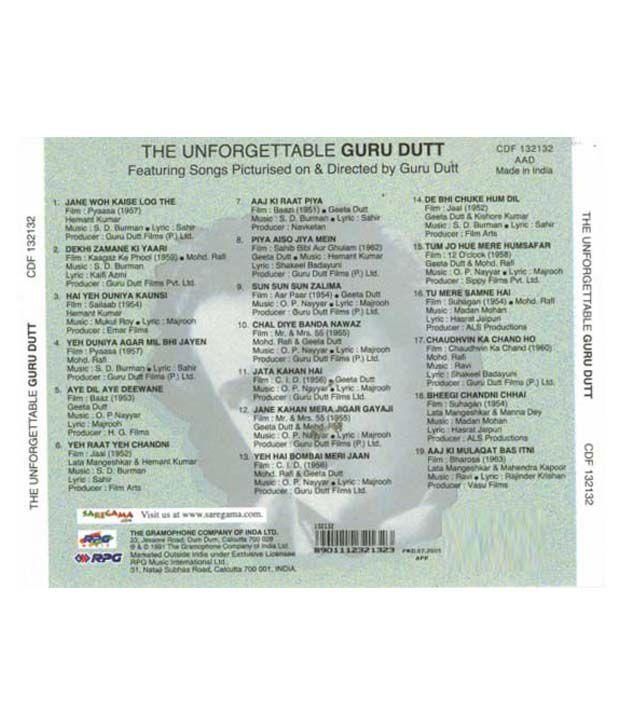 Unforgettable Guru Dutt (Hindi) [Audio CD]: Buy Online at