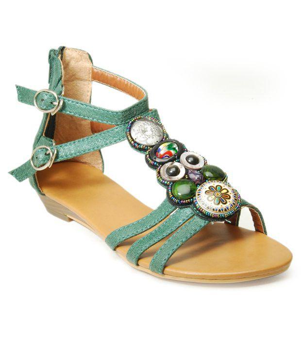 Sant Distinct Green Flat Sandals