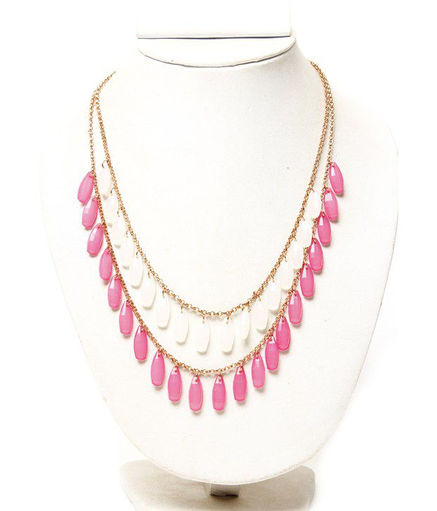 Pari Pink & White Oval Drop Necklace