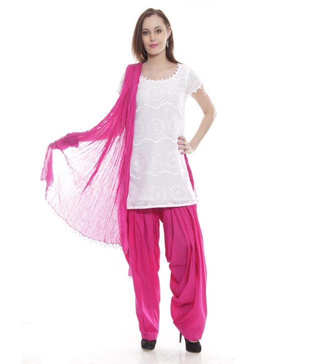 2cc7d1b166 Neels White-Fuschia Pink Kurti With Patiala Salwar & Matching Dupatta - Buy  Neels White-Fuschia Pink Kurti With Patiala Salwar & Matching Dupatta  Online at ...