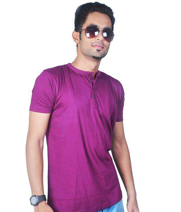 Krook Purple Cotton Henley T-Shirt