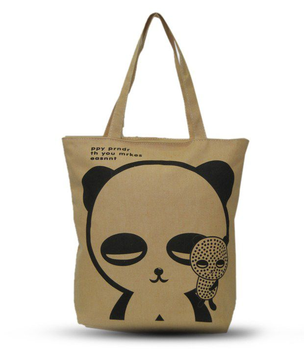 A-Maze Beige & Black Teddy Bear Printed Tote Bag