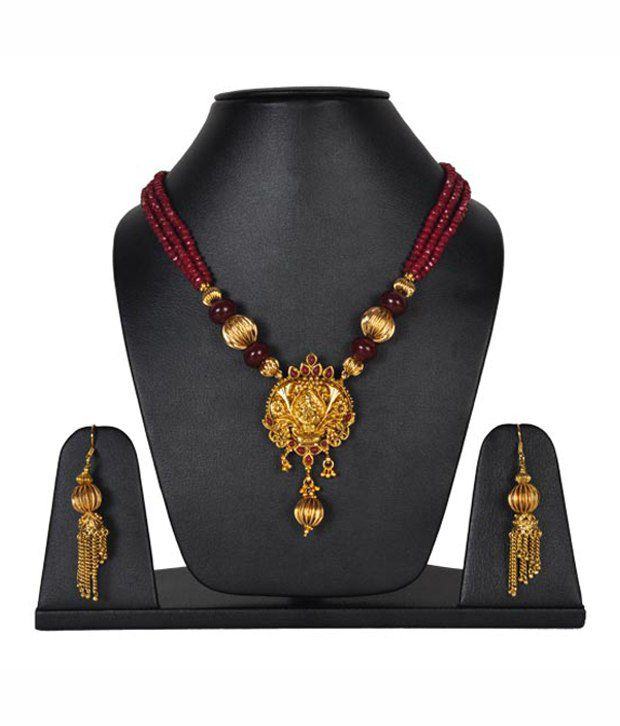 Aradhyaa Jewel Arts Maroon &  Golden Traditional Necklace Set