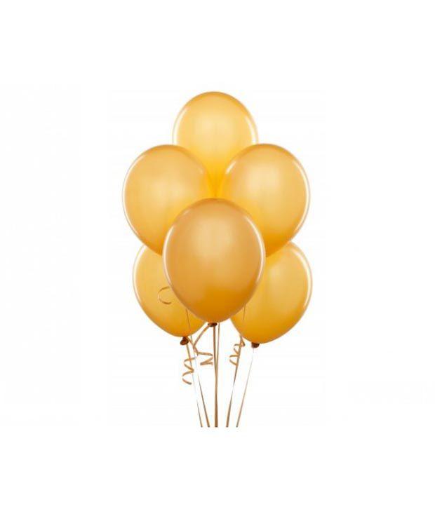 DholDhamaka Dhol Dhamaka Premium Golden Metallic Latex Balloons Balloons