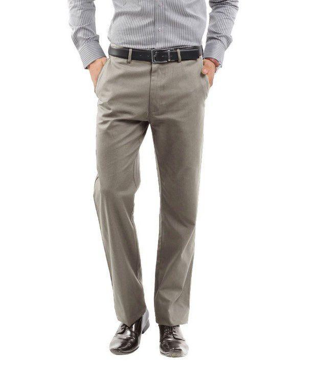 Peter England Light Grey Slim Fit Trouser