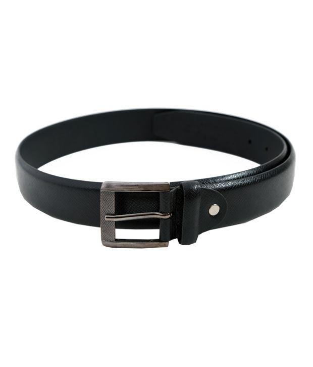 Lino Perros Stylish Black Textured Finish Belt