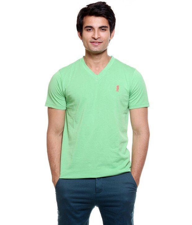 Tiger Of GOA Green V Neck T-shirt
