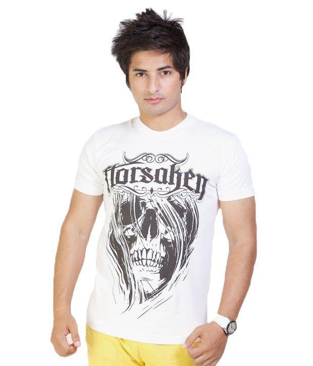 Monarch Trendy White Printed T Shirt