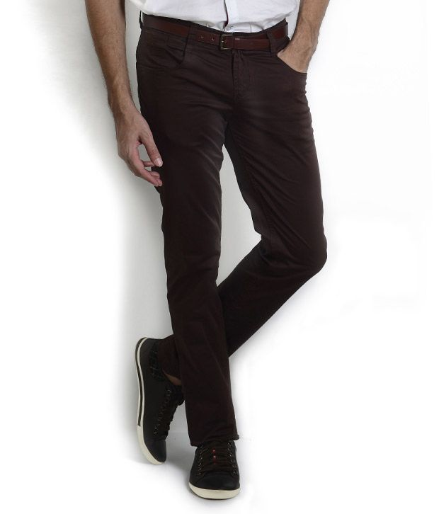 Teemper Dark Brown Trousers With Thread Embroidery At Back Pocket