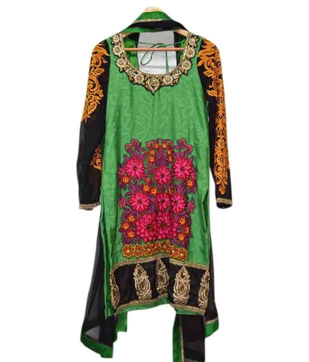 Oorja-TheDesigner Wear Green Tussar Silk  Suit