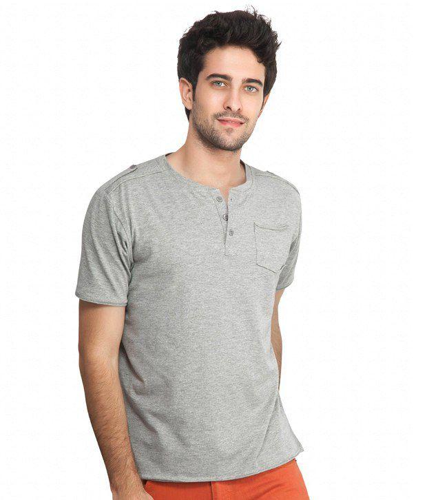 Inkfruit Inkfruit Grey Henley Cotton T-Shirt