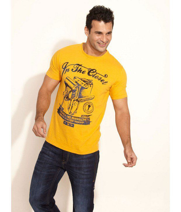 In The Closet Yellow Printed T Shirt