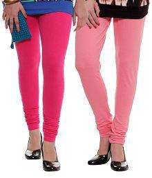 Rham Coral Pink-Fuschia Pink Leggings Combo Of 2