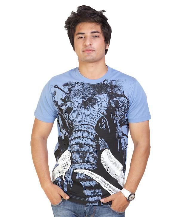 Monarch Classy Sky Blue Printed T Shirt