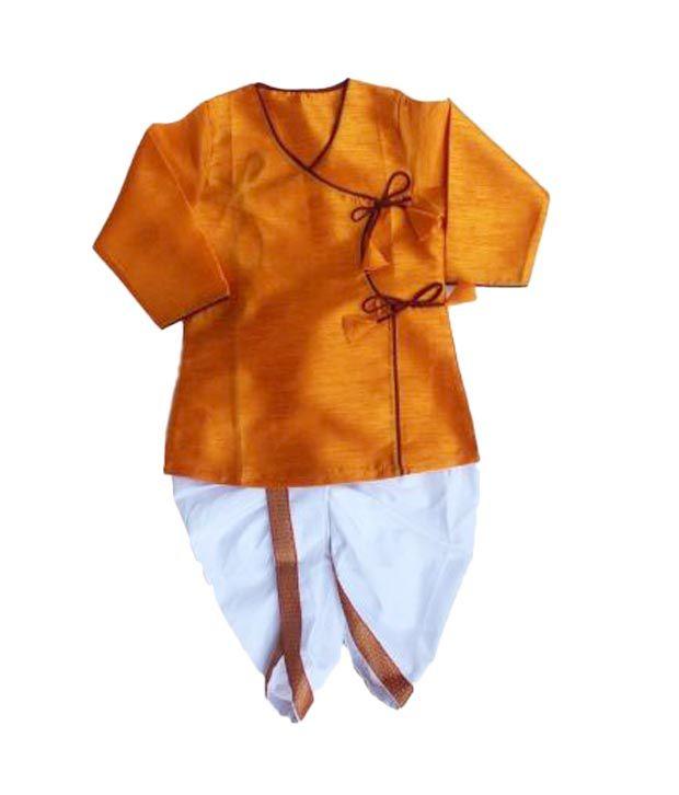 4ef94e669a5 DotnDitto Yellow   White Angrakha Dhoti-Kurta For Kids - Buy ...