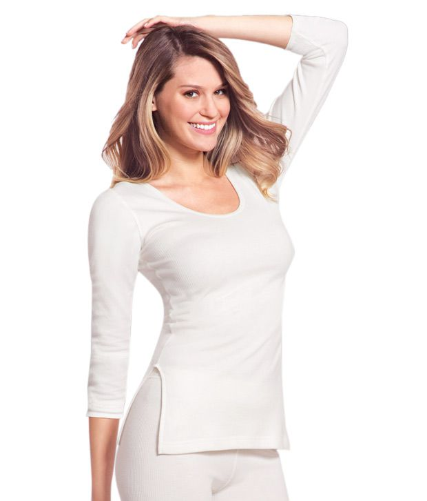 elegant in style the latest united states Jockey White Cotton Thermal Top