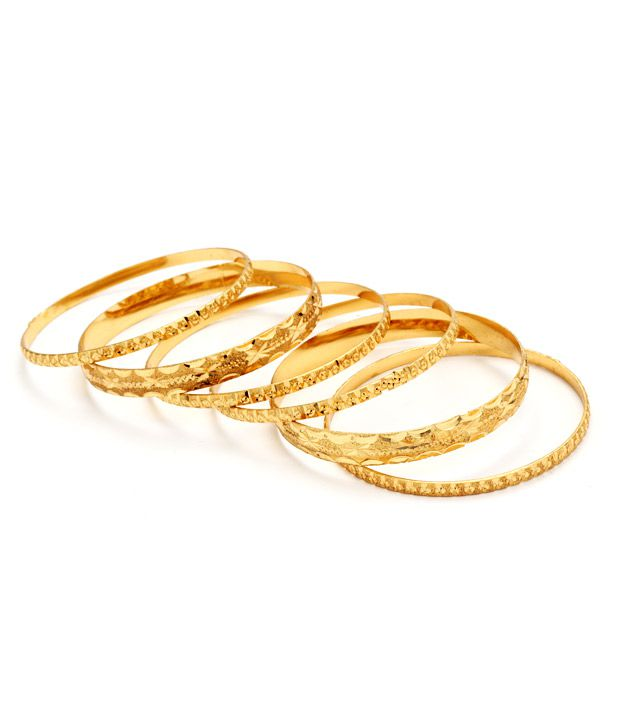 Pari Set Of 4 Bangles & 2 Kadas in Gold Plating