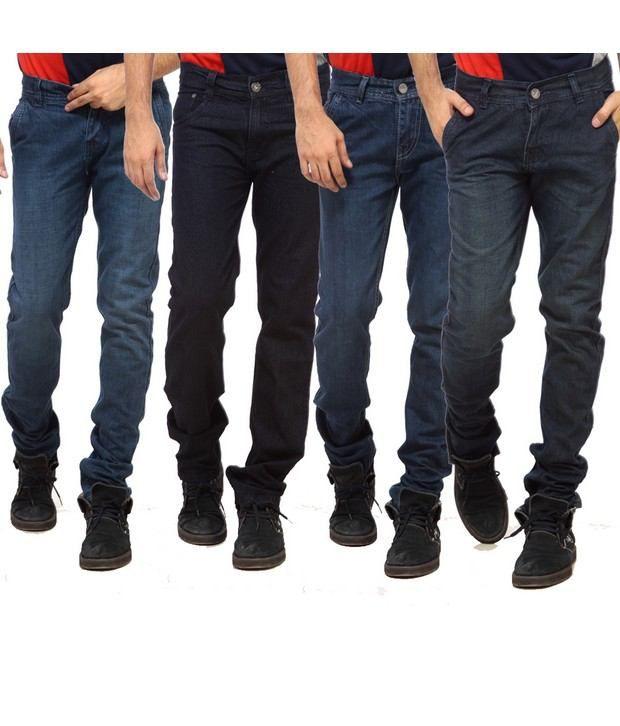 NX Smart Blue & Black Basic  Pack of 4 Jeans