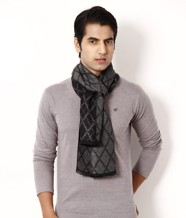 Alvaro Black & Grey Diagonal Stripe Muffler