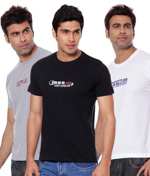 Status Quo Black-White-Grey Melange Round Neck Pack of 3 T-shirts