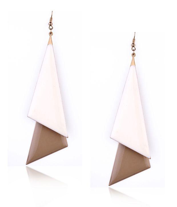Ornate Asymmetric Triangle Overlap Earrings