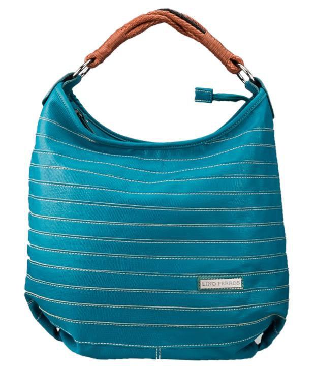 Lino Perros Turquoise Blue Contrast Stitched Shoulder Bag