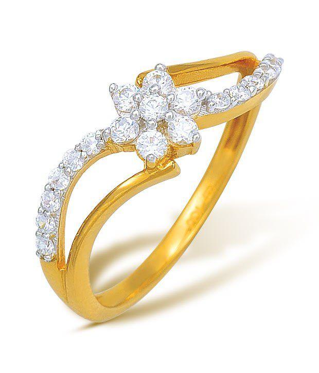 Ishtaa 2.22 Gm 18kt Gold Cubic Zircon Floral Ring