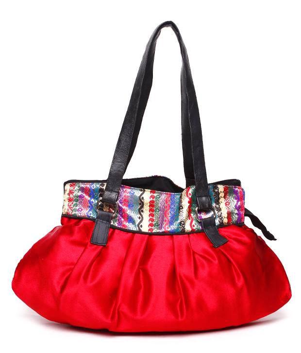 Frolic Stylish Red Brocade Border Shoulder Bag