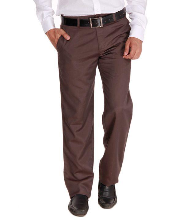 Alano Dark Brown Cotton Trousers
