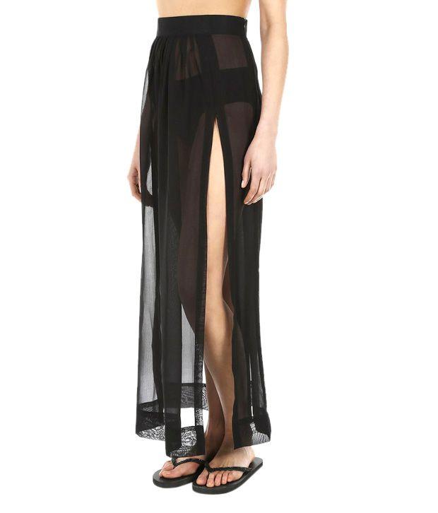 The Beach Company Black Polyester Side Slit Beach Skirt